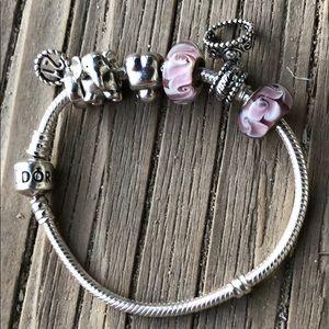 Pandora Sterling Bracelet w/ Six Retired Charms!